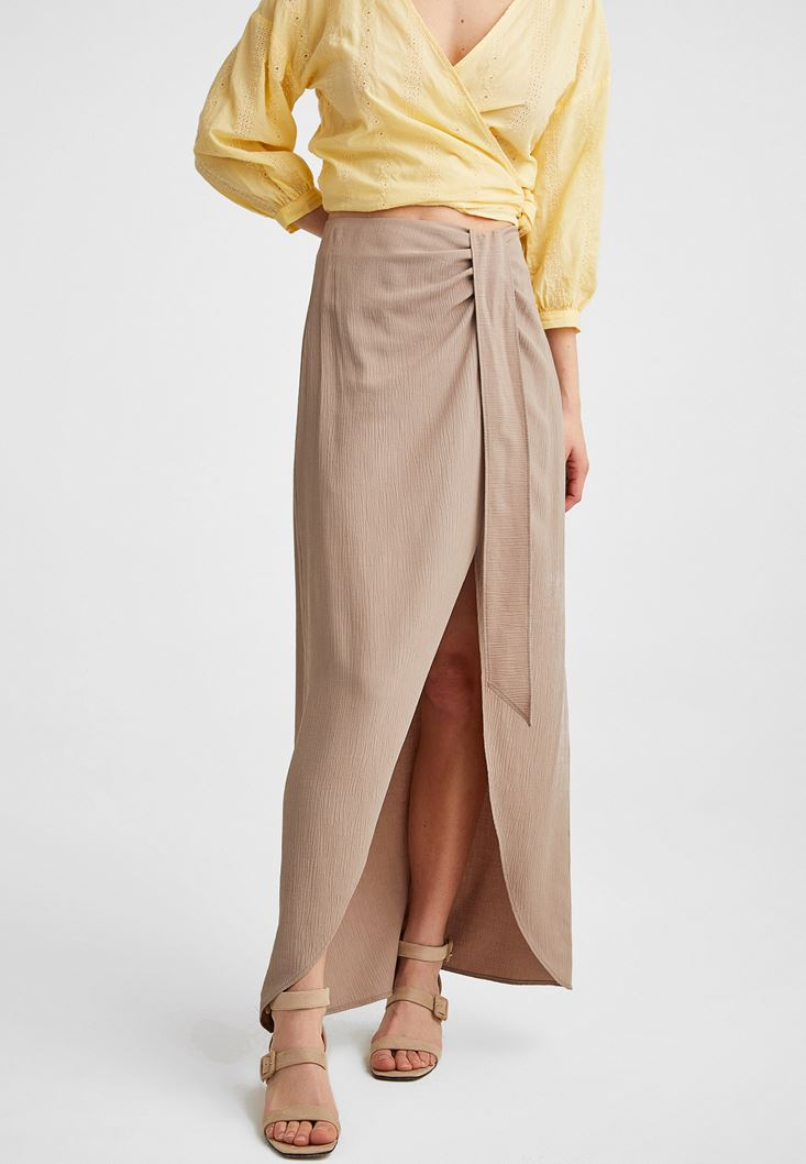 Brown Maxi Skirt with Bow