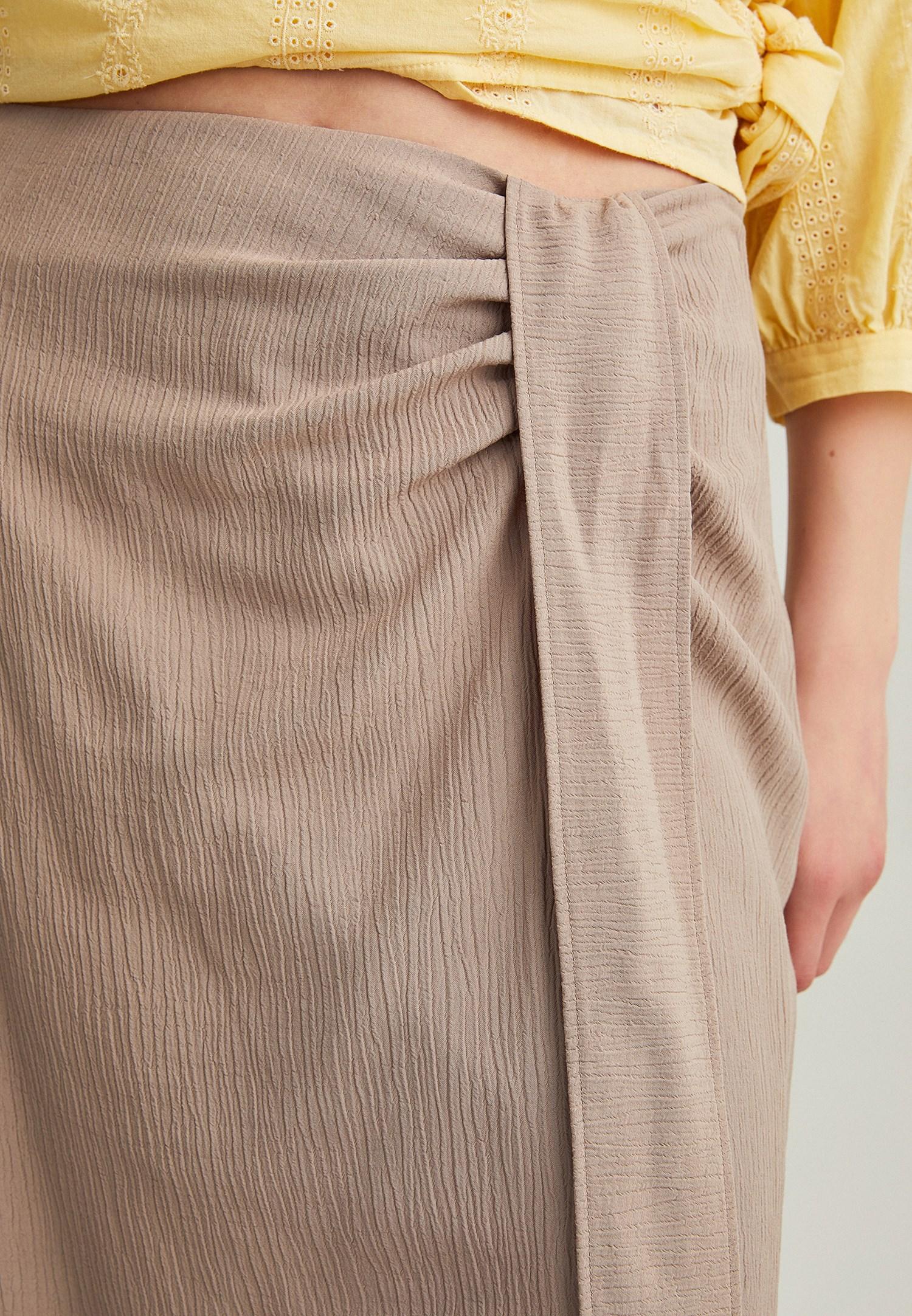 Bayan Kahverengi Bağlama Detaylı Uzun Etek