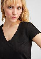 Bayan Siyah Bağlama Detaylı Kısa Kollu Bluz