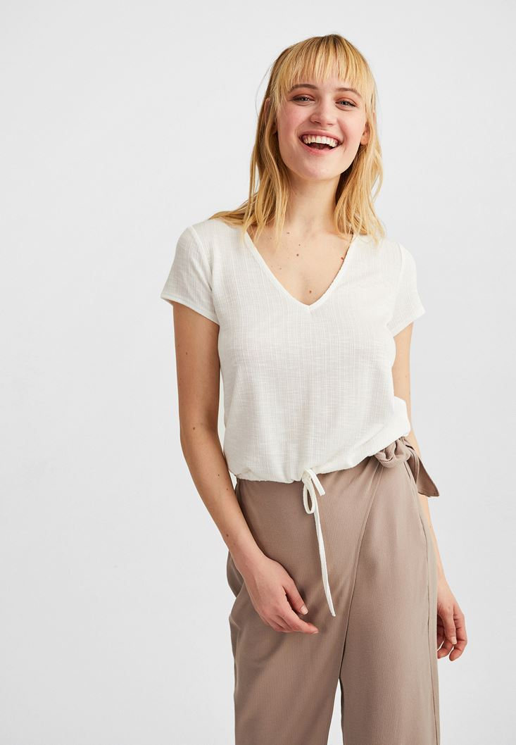 Cream V-Neck Blouse with Drawstrings