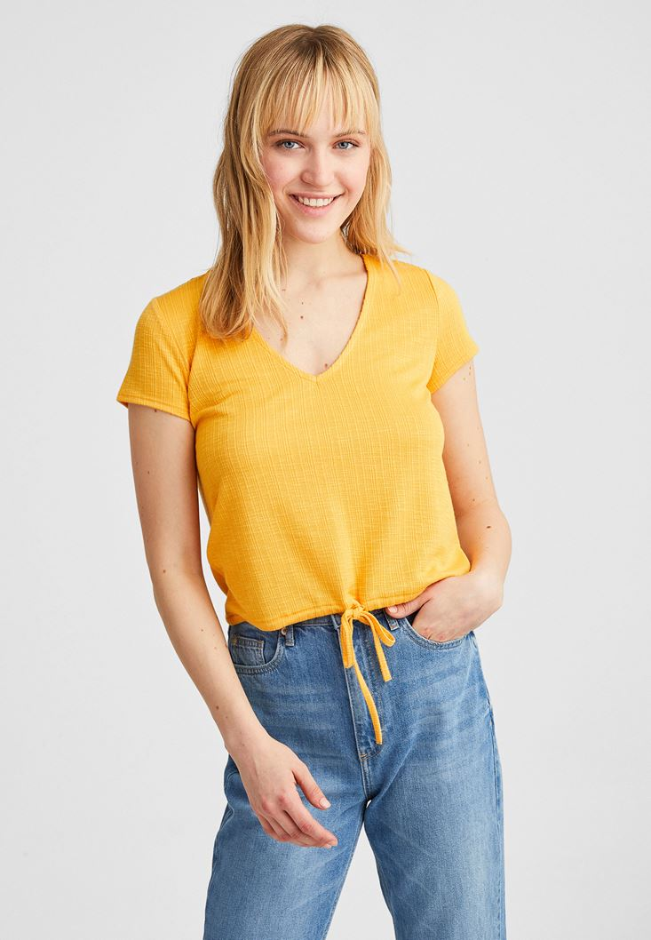 Yellow V-Neck Blouse with Drawstrings