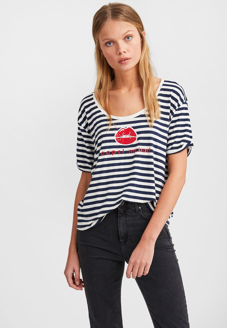 Mixed Striped T-Shirt with Print