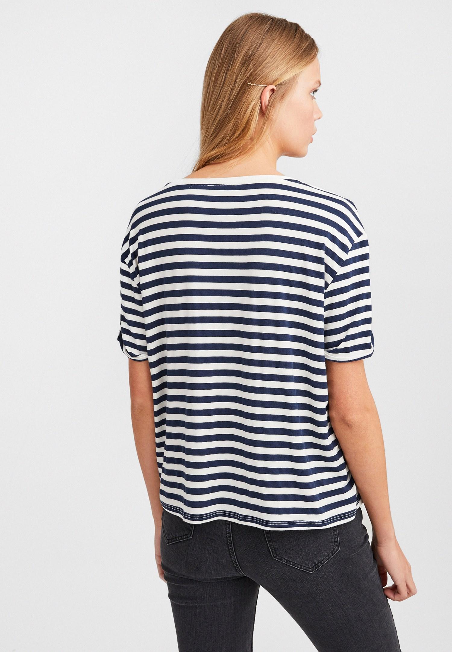 Bayan Çok Renkli Baskı Detaylı Çizgili T-Shirt
