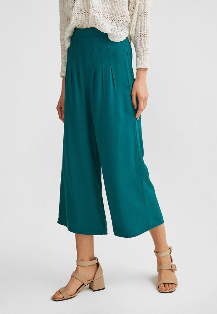 Green Pleated Culotte