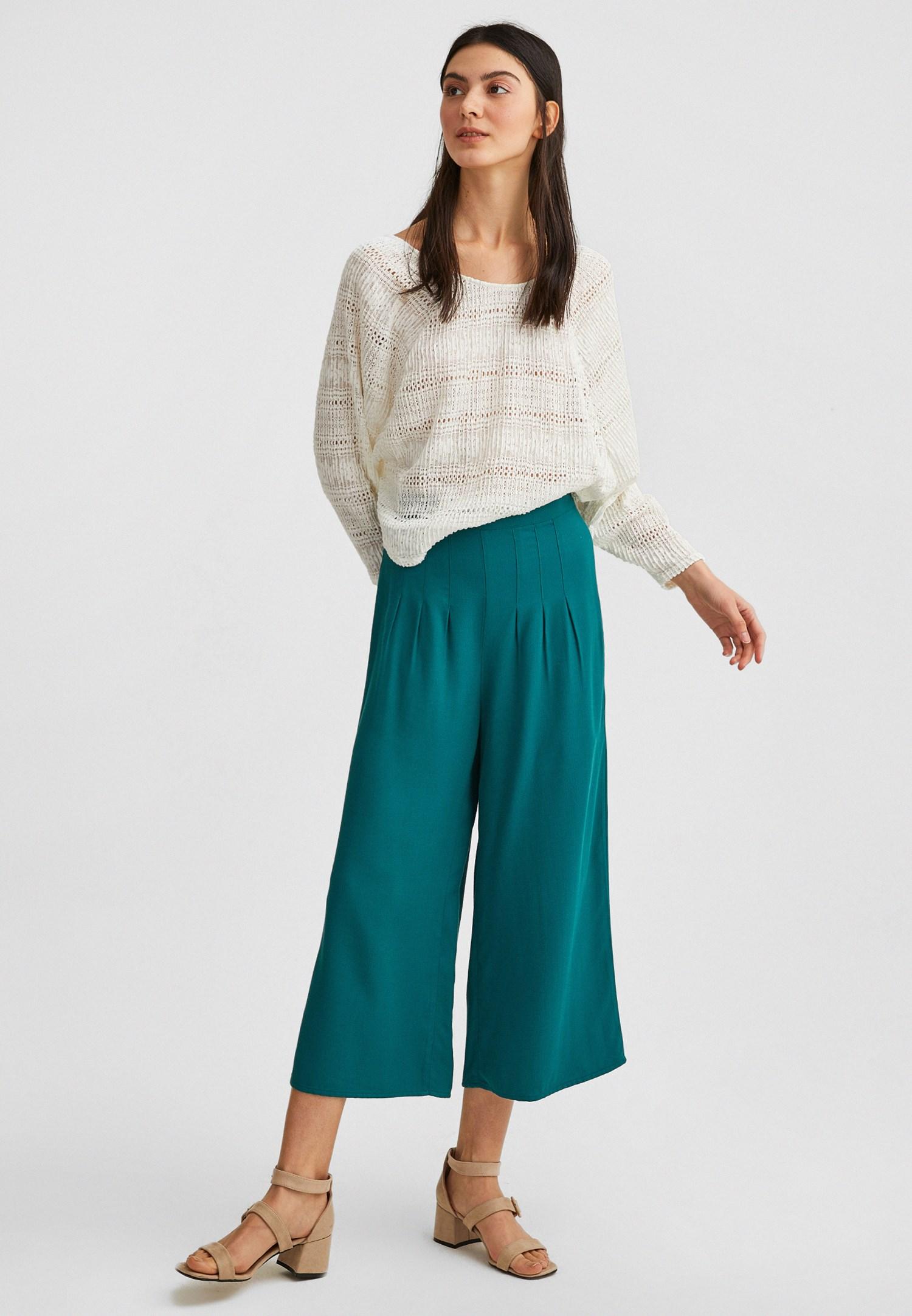 Bayan Yeşil Pileli Bol Pantolon