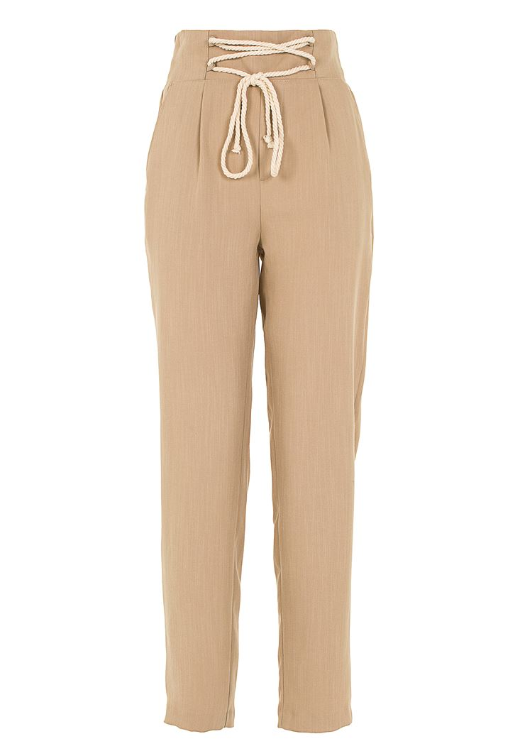 Pile Detaylı Bağcıklı Pantolon