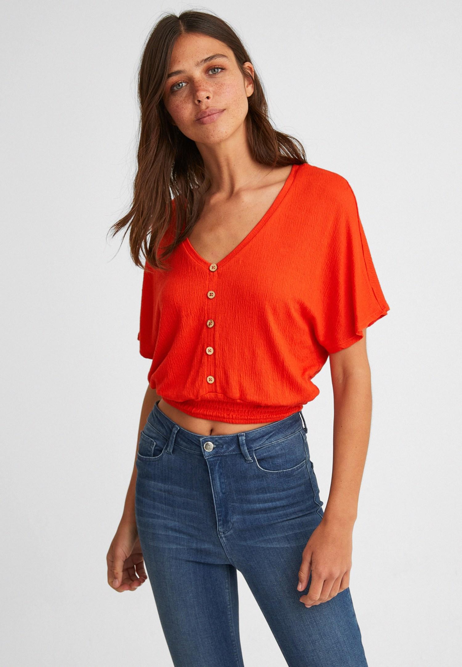 Bayan Kırmızı Beli Lastikli Crop Bluz