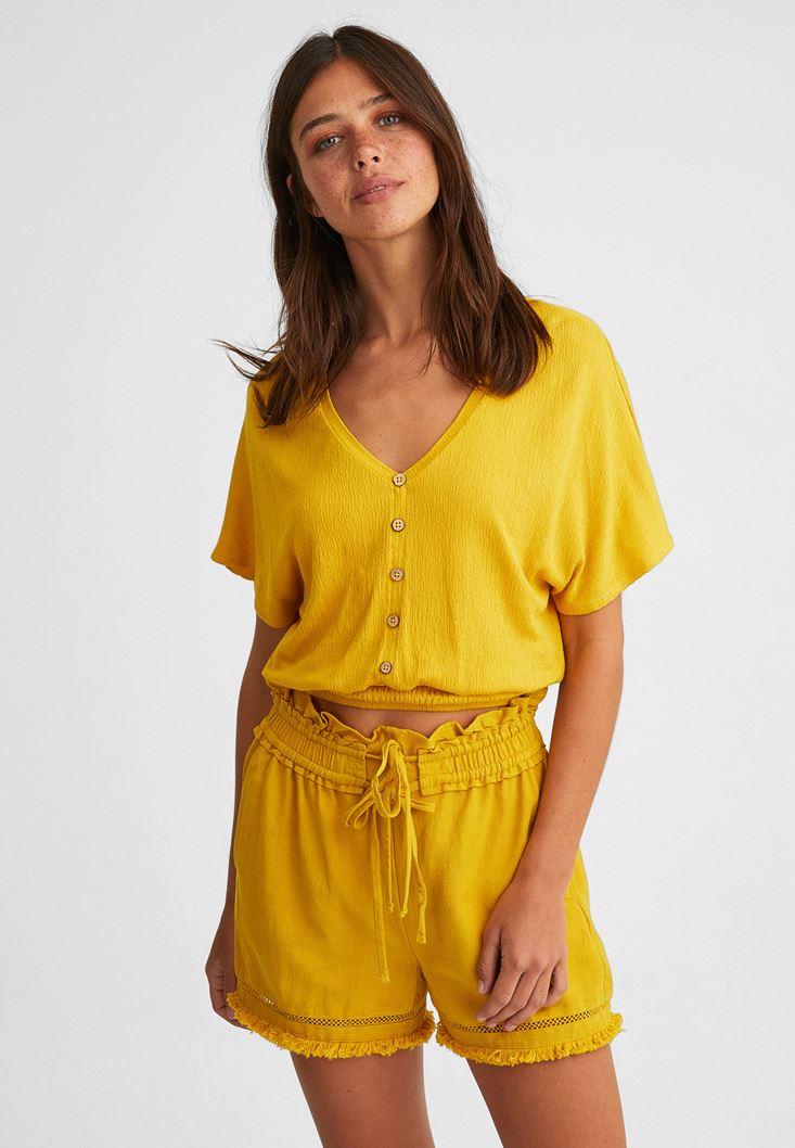 Sarı Beli Lastikli Crop Bluz