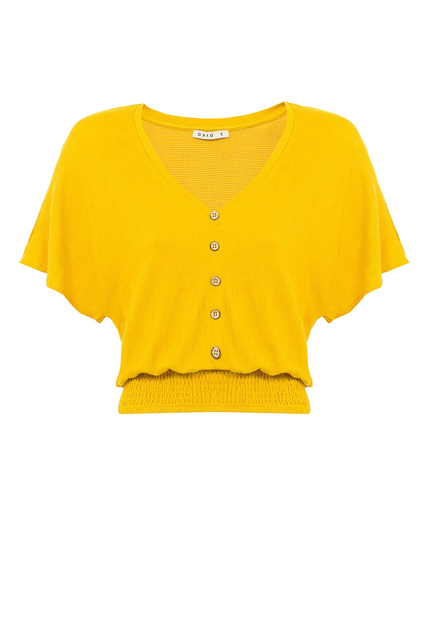 Bayan Sarı Beli Lastikli Crop Bluz