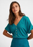Bayan Mavi Beli Lastikli Crop Bluz