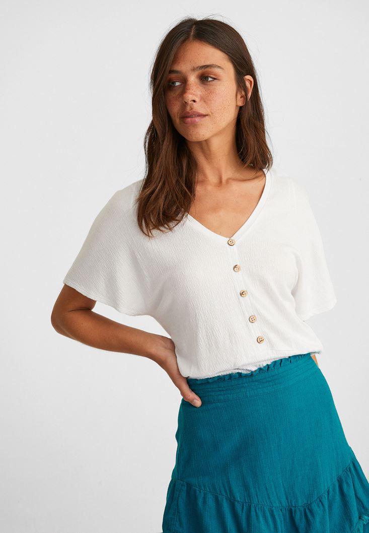 Beyaz Beli Lastikli Crop Bluz
