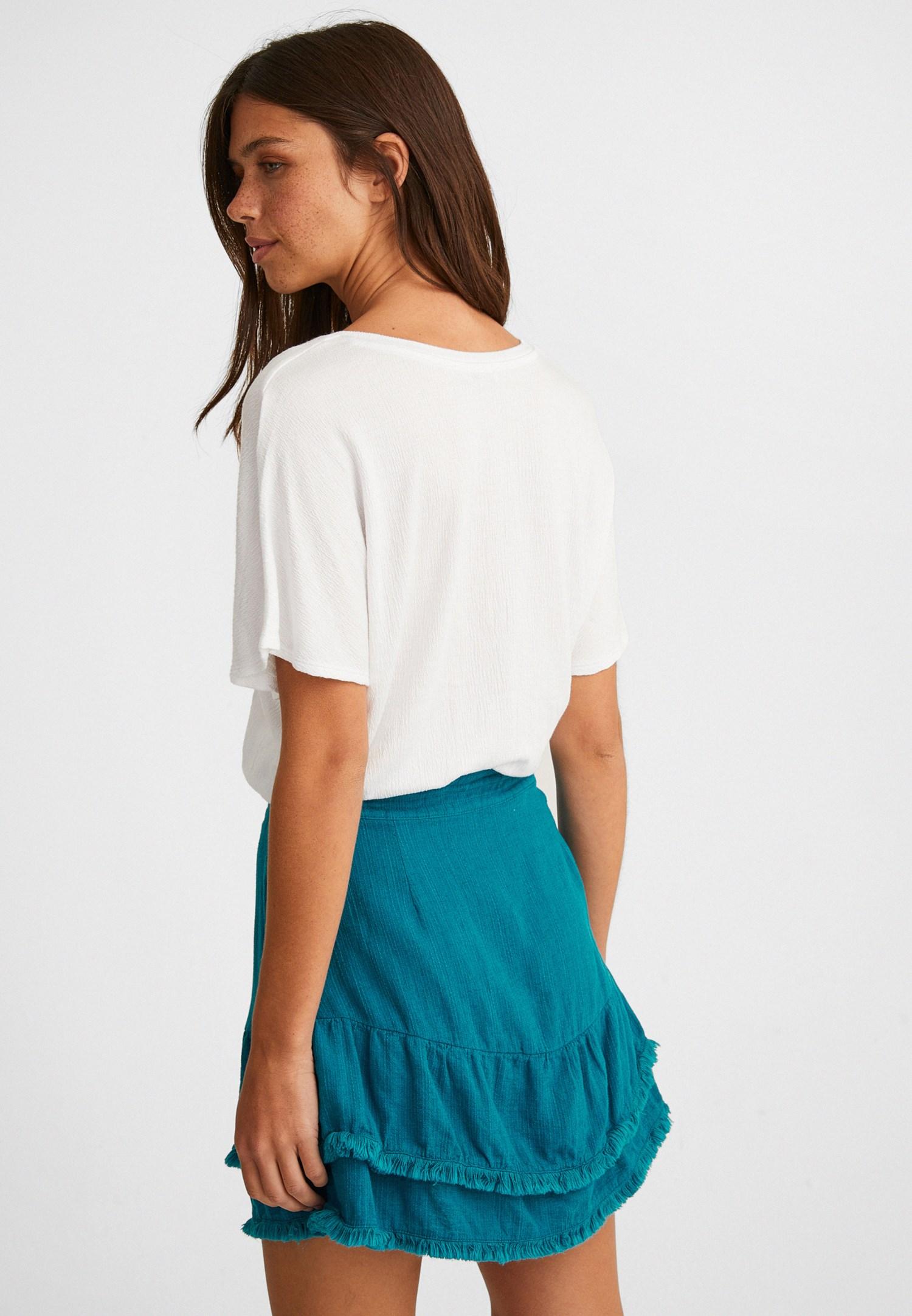 Bayan Beyaz Beli Lastikli Crop Bluz