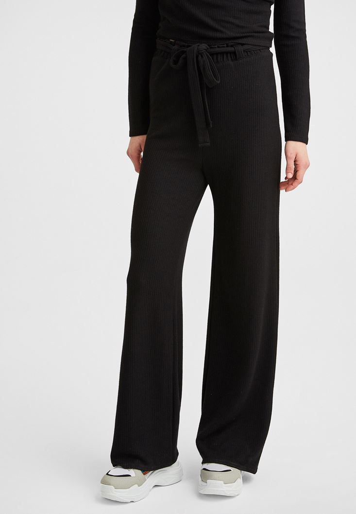 Black Pants with Lace Up Detail