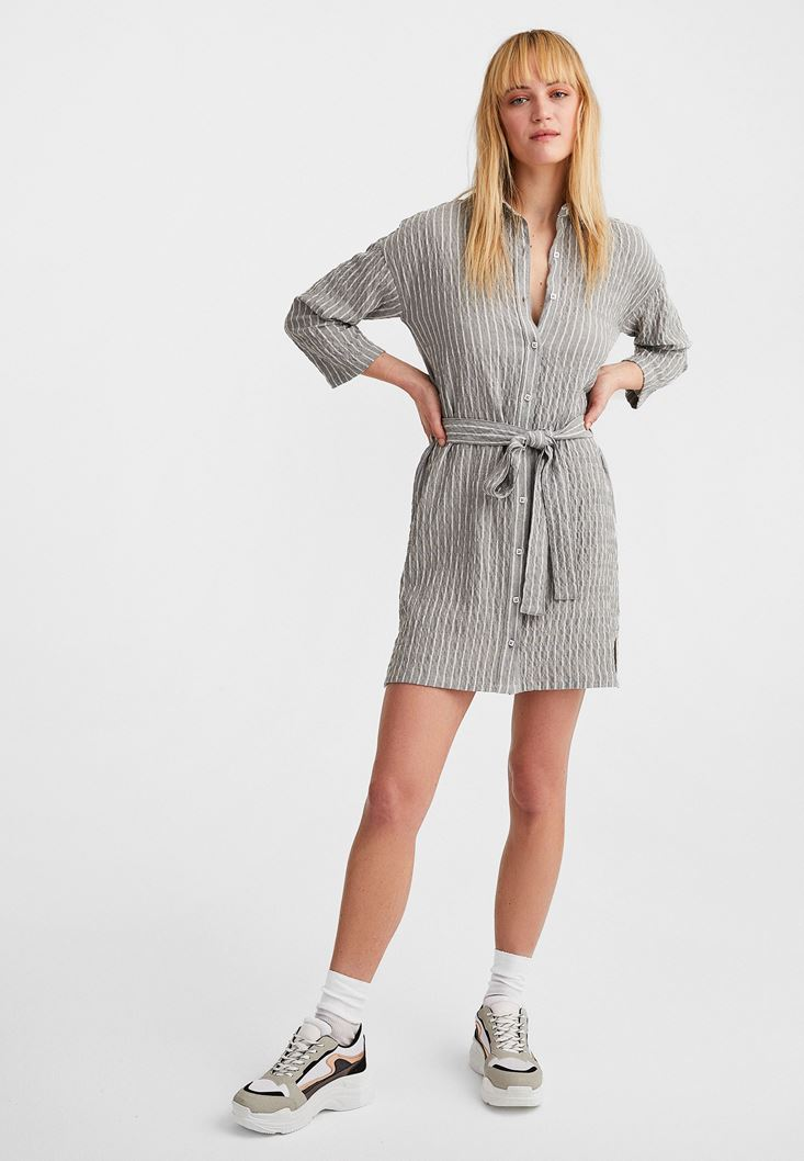 Grey Long Sleeve Belted Dress