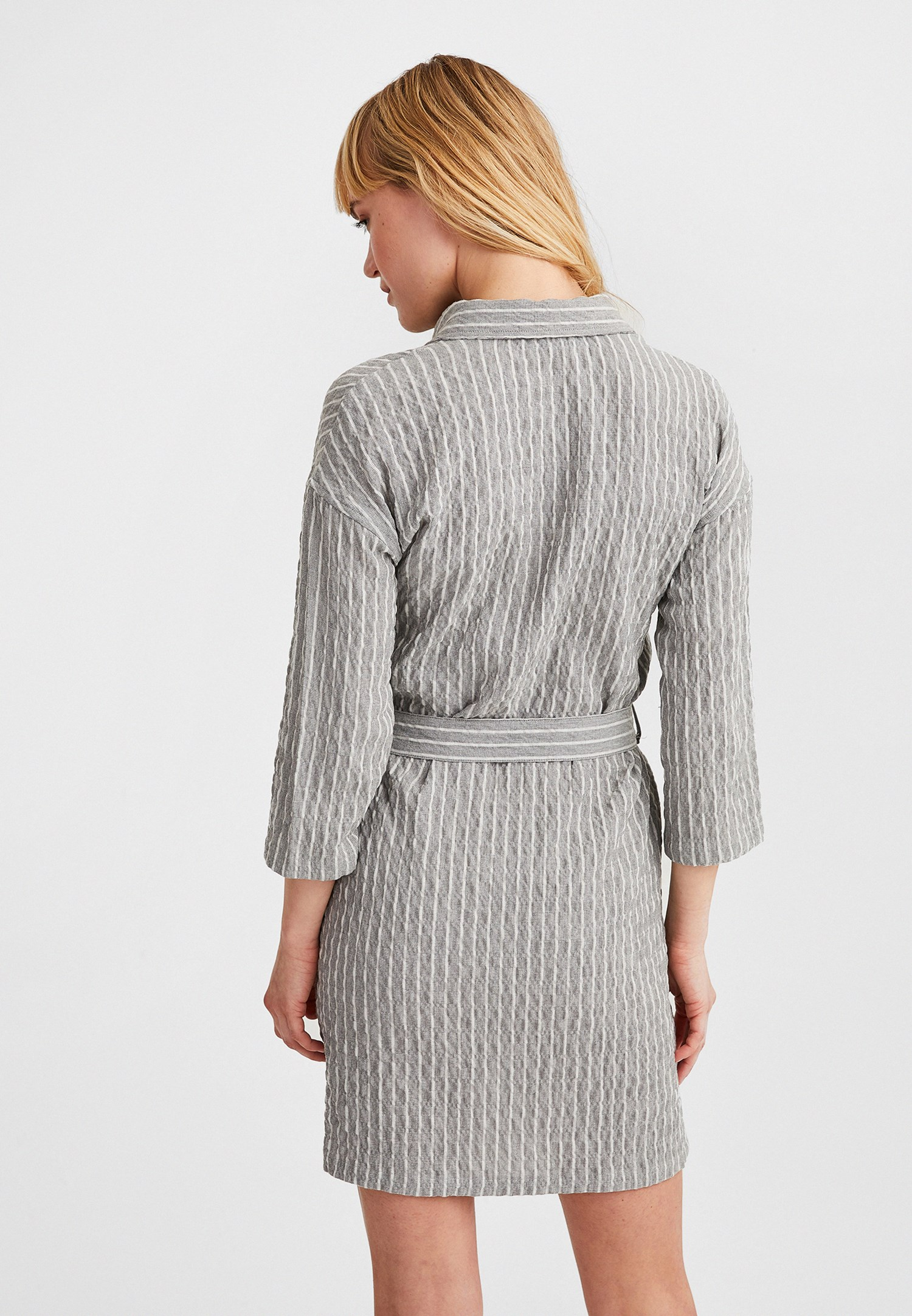 Women Grey Long Sleeve Belted Dress