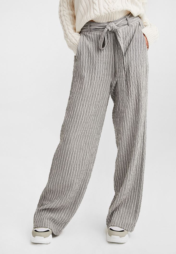 Grey Wide Leg Belted Trousers