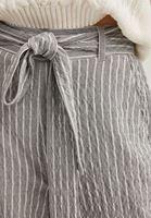 Bayan Gri Kemerli Bol Paça Pantolon