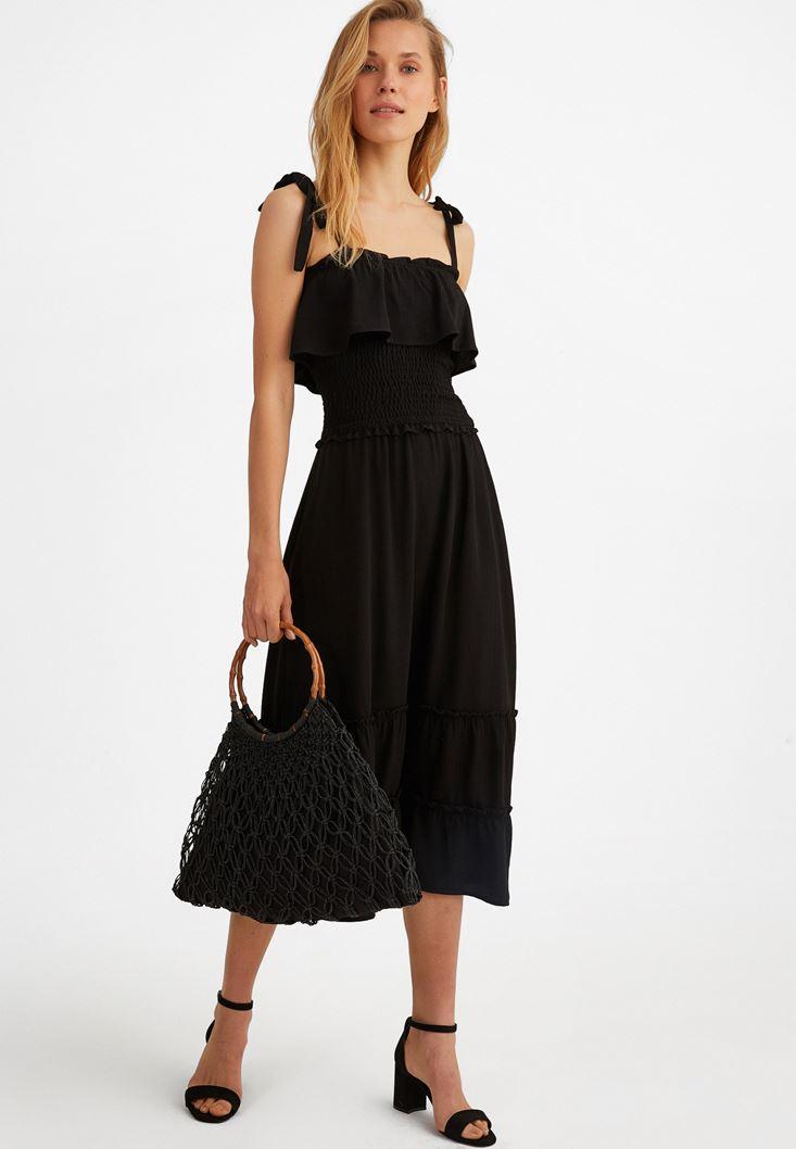 Siyah Fırfır Detaylı Uzun Elbise