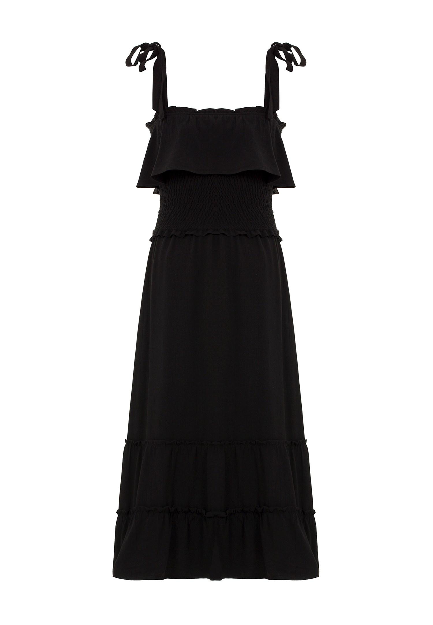 Bayan Siyah Fırfır Detaylı Uzun Elbise