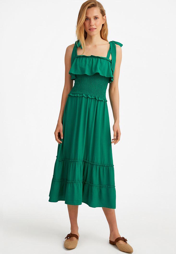Yeşil Fırfır Detaylı Uzun Elbise