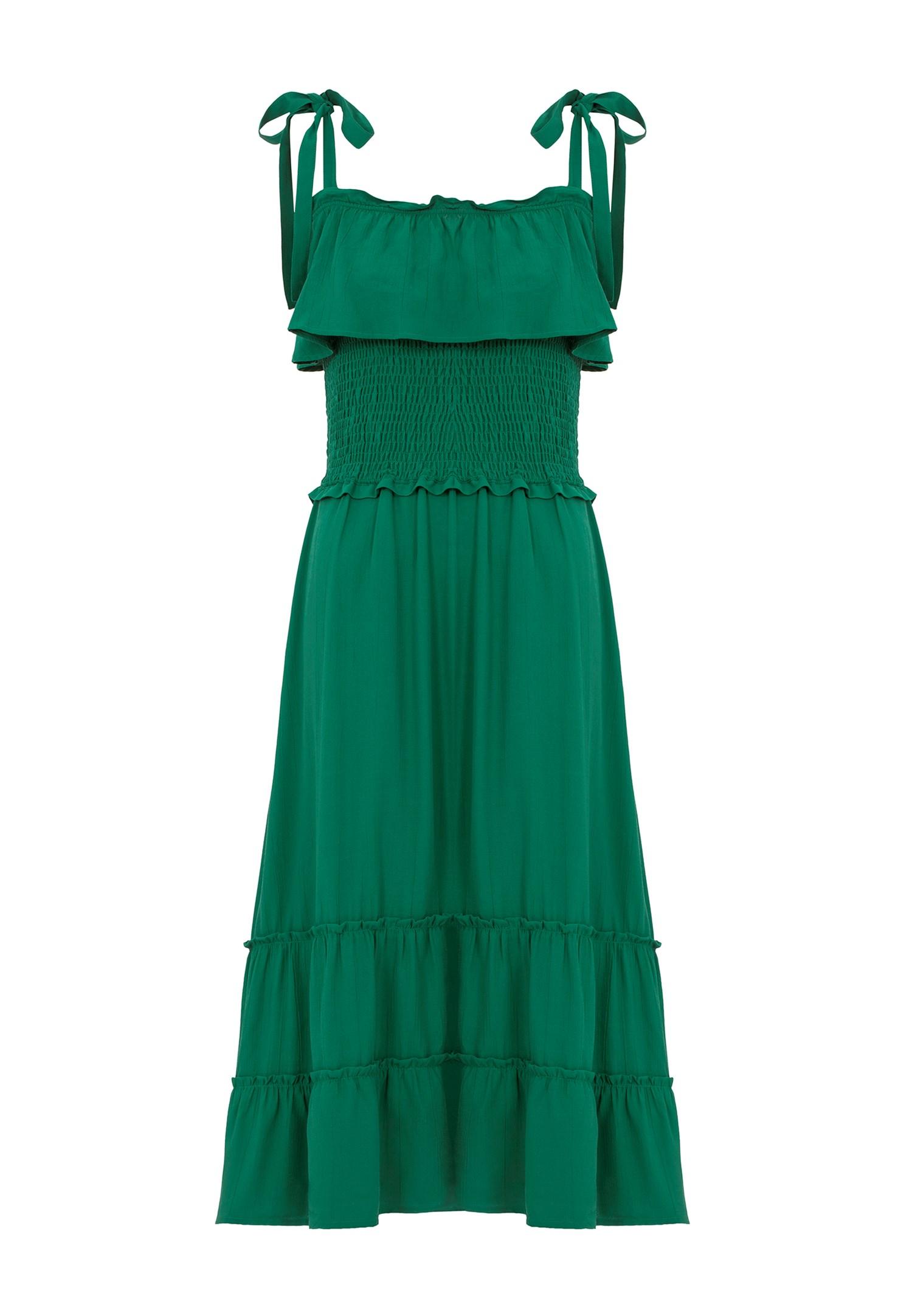 Bayan Yeşil Fırfır Detaylı Uzun Elbise
