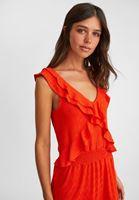 Bayan Kırmızı Yaka Detaylı Mini Elbise