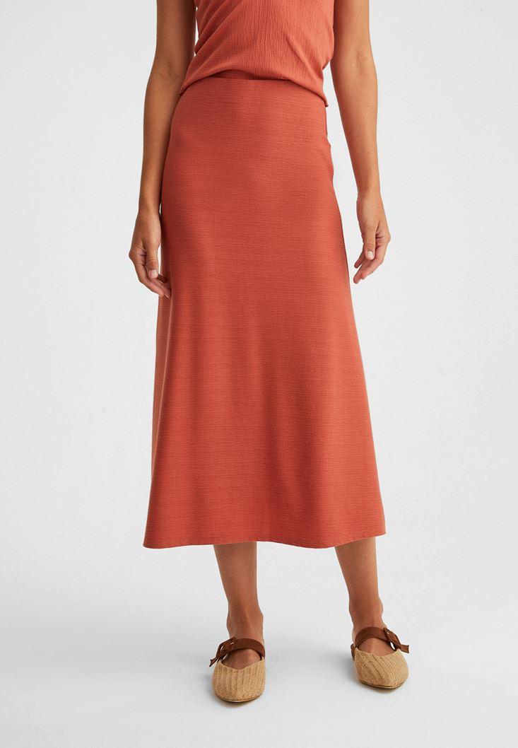 Orange Midi Skirt with Texture