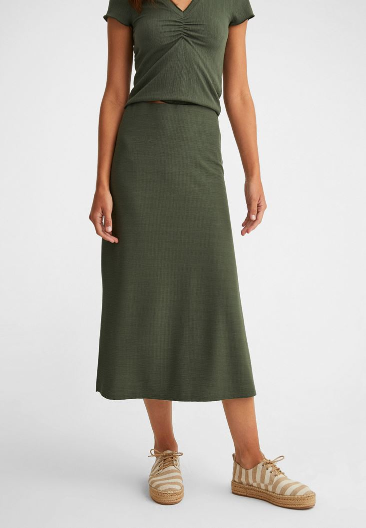 Green Midi Skirt with Texture