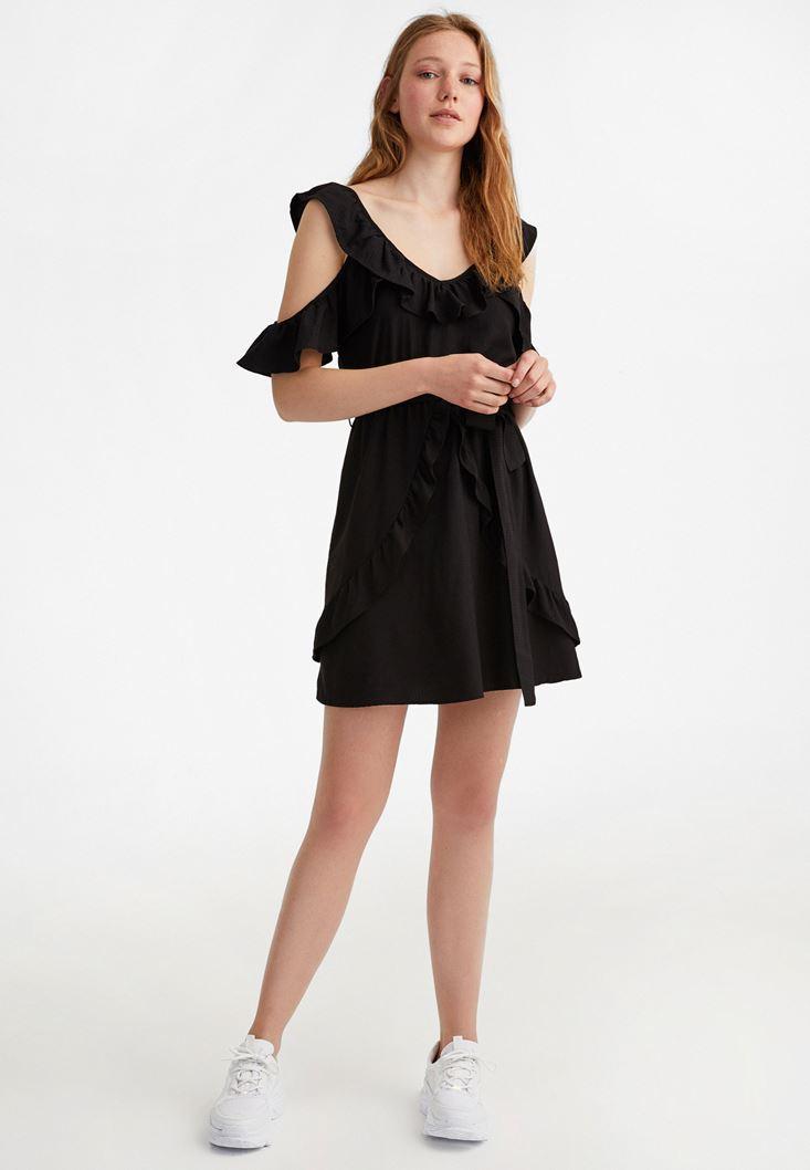Siyah Fırfır Detaylı Mini Elbise