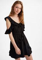 Bayan Siyah Fırfır Detaylı Mini Elbise