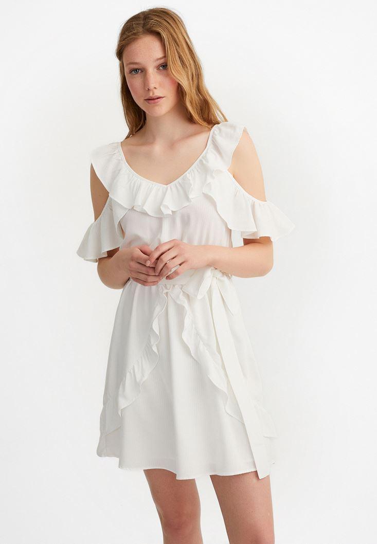Krem Fırfır Detaylı Mini Elbise