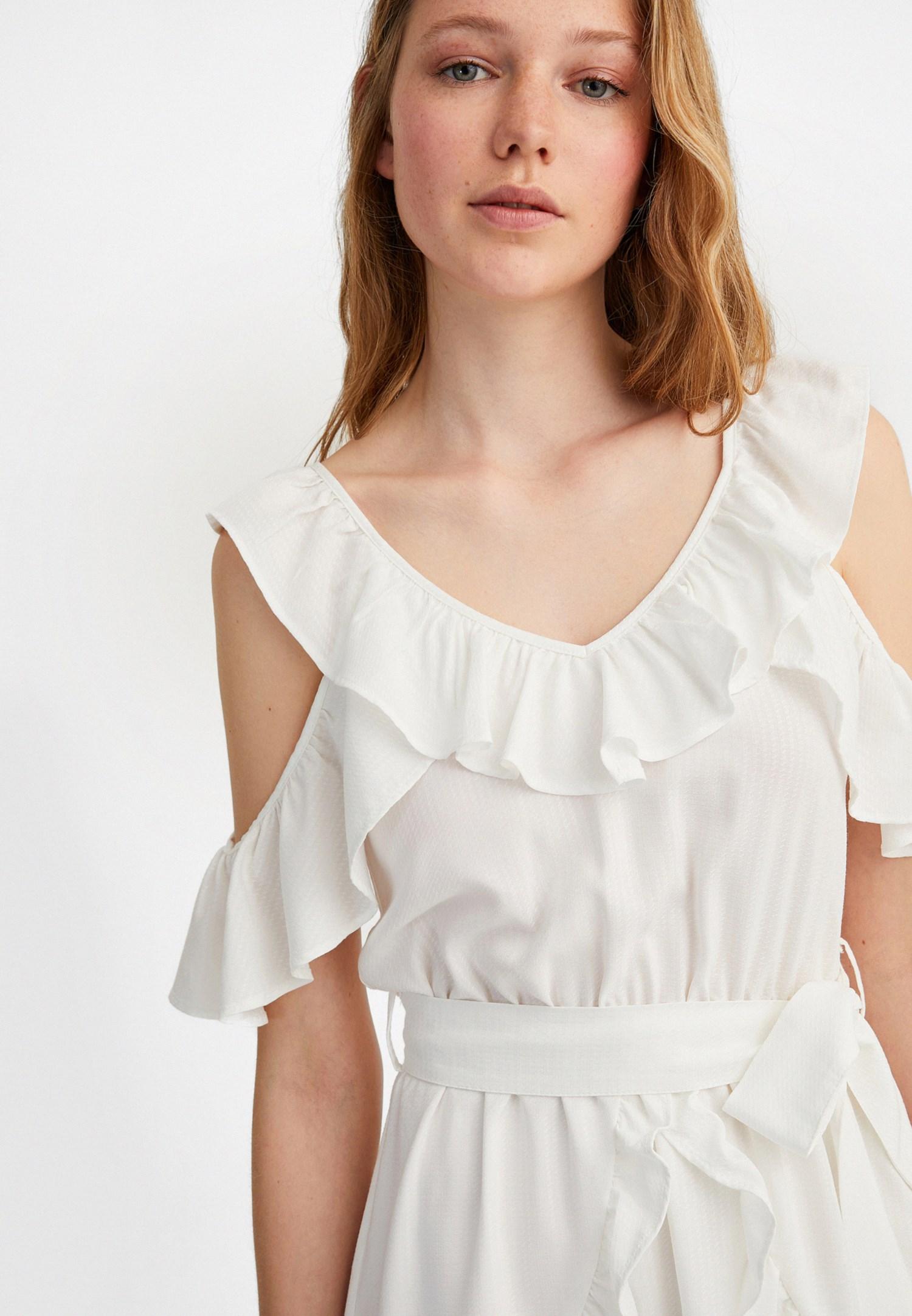 Bayan Krem Fırfır Detaylı Mini Elbise