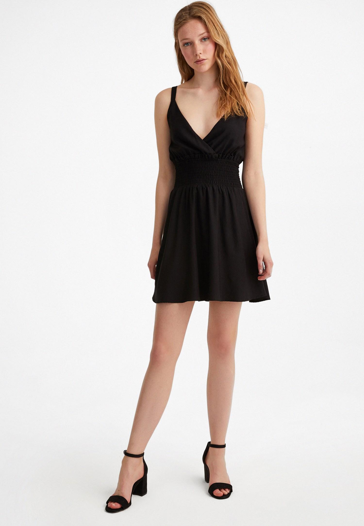 Bayan Siyah Beli Lastikli Mini Elbise