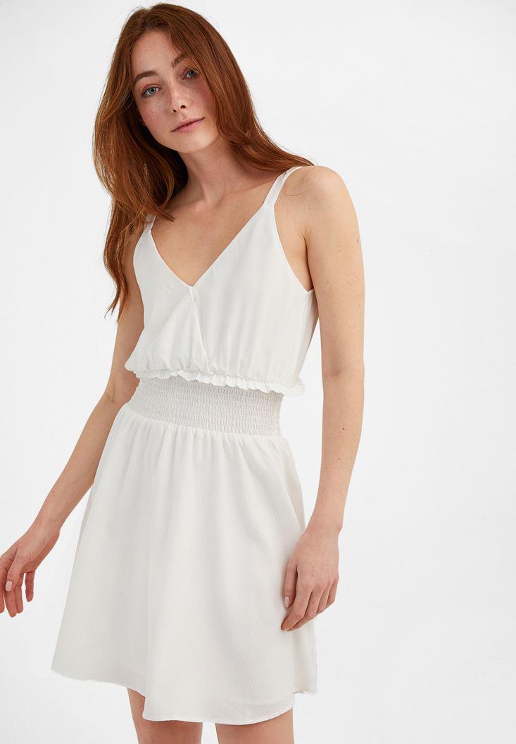 Krem Beli Lastikli Mini Elbise