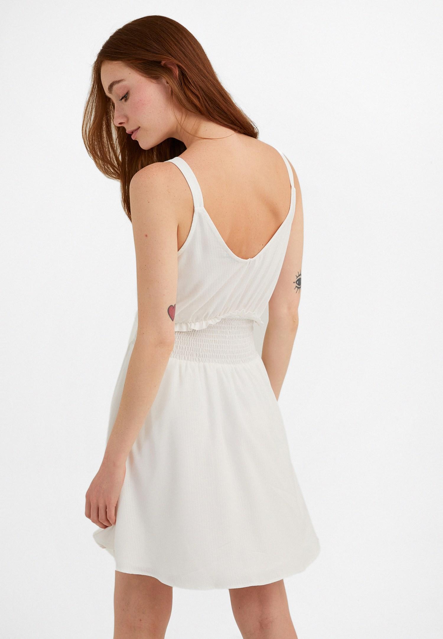 Bayan Krem Beli Lastikli Mini Elbise