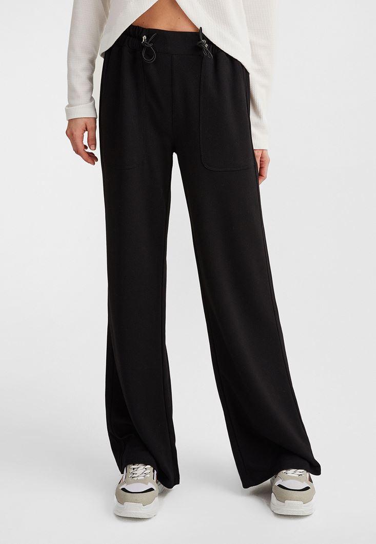 Siyah Bağcıklı Yüksek Bel Pantolon