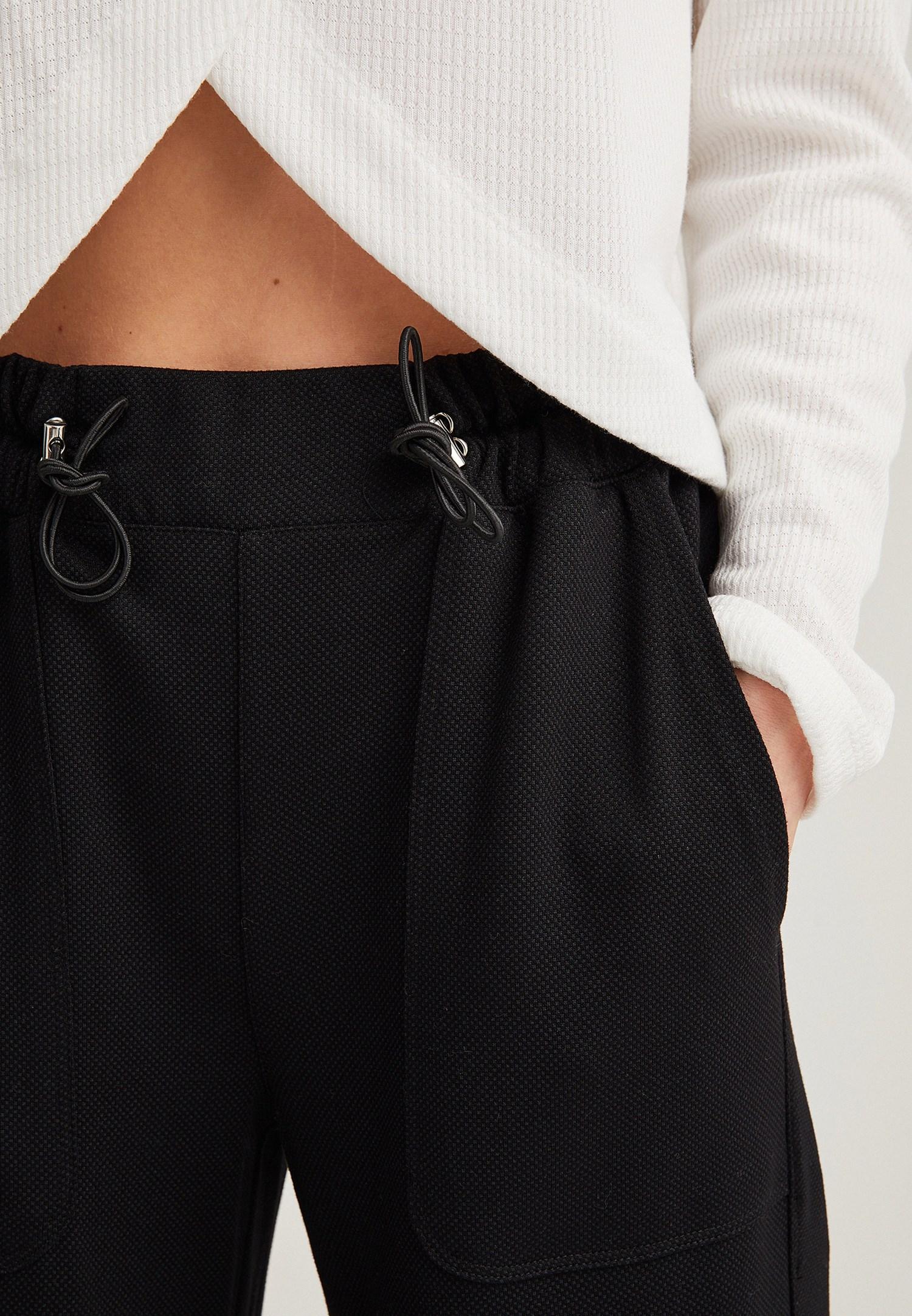 Bayan Siyah Bağcıklı Yüksek Bel Pantolon