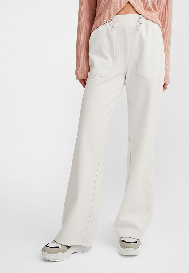Cream Wide-Leg High Waist Trousers