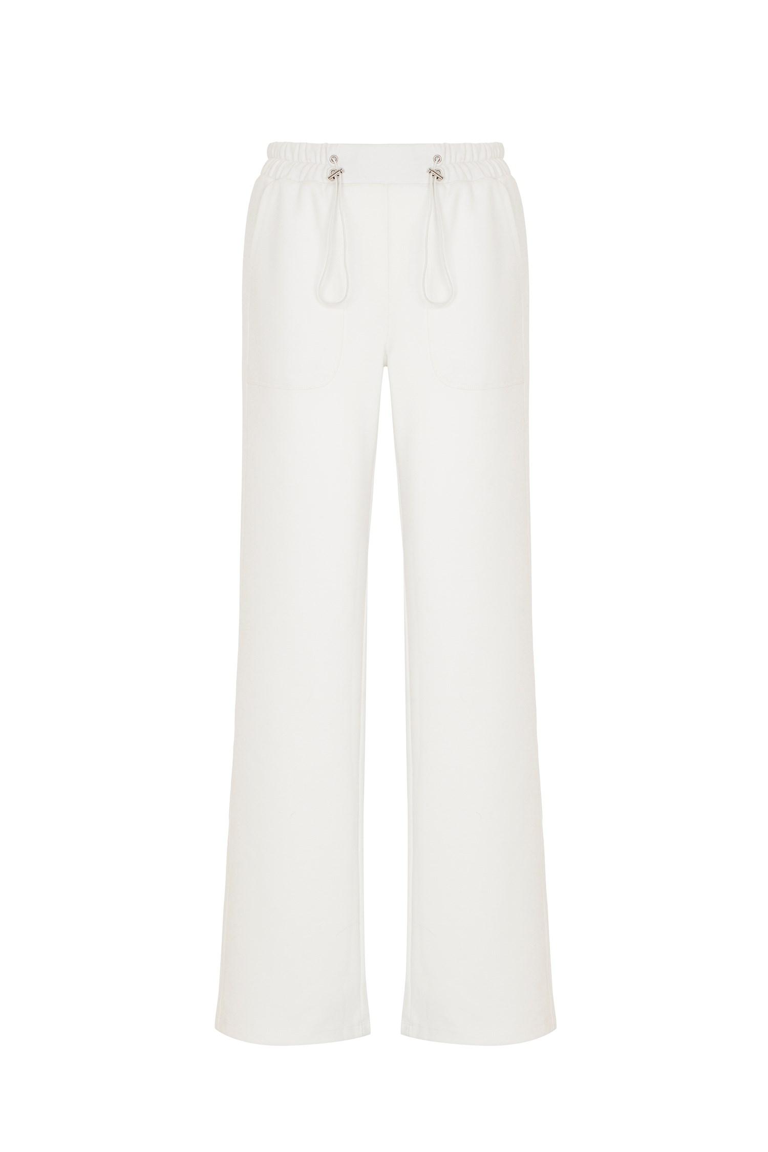 Bayan Krem Bağcıklı Yüksek Bel Pantolon