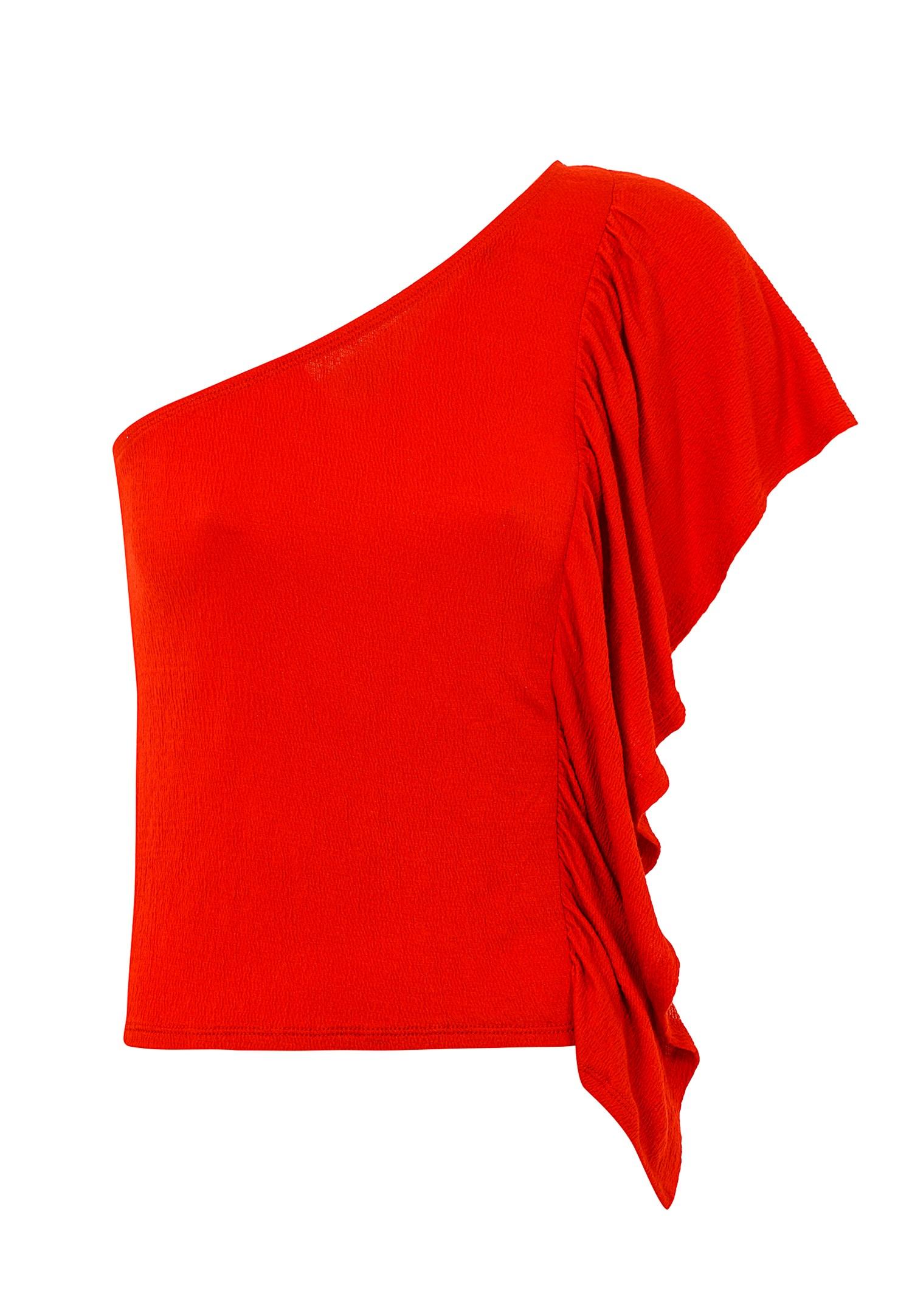 Bayan Kırmızı Tek Omuz Fırfır Detaylı Bluz