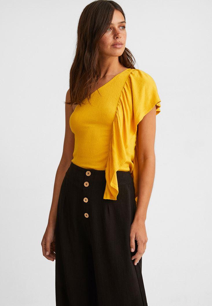 Sarı Tek Omuz Fırfır Detaylı Bluz