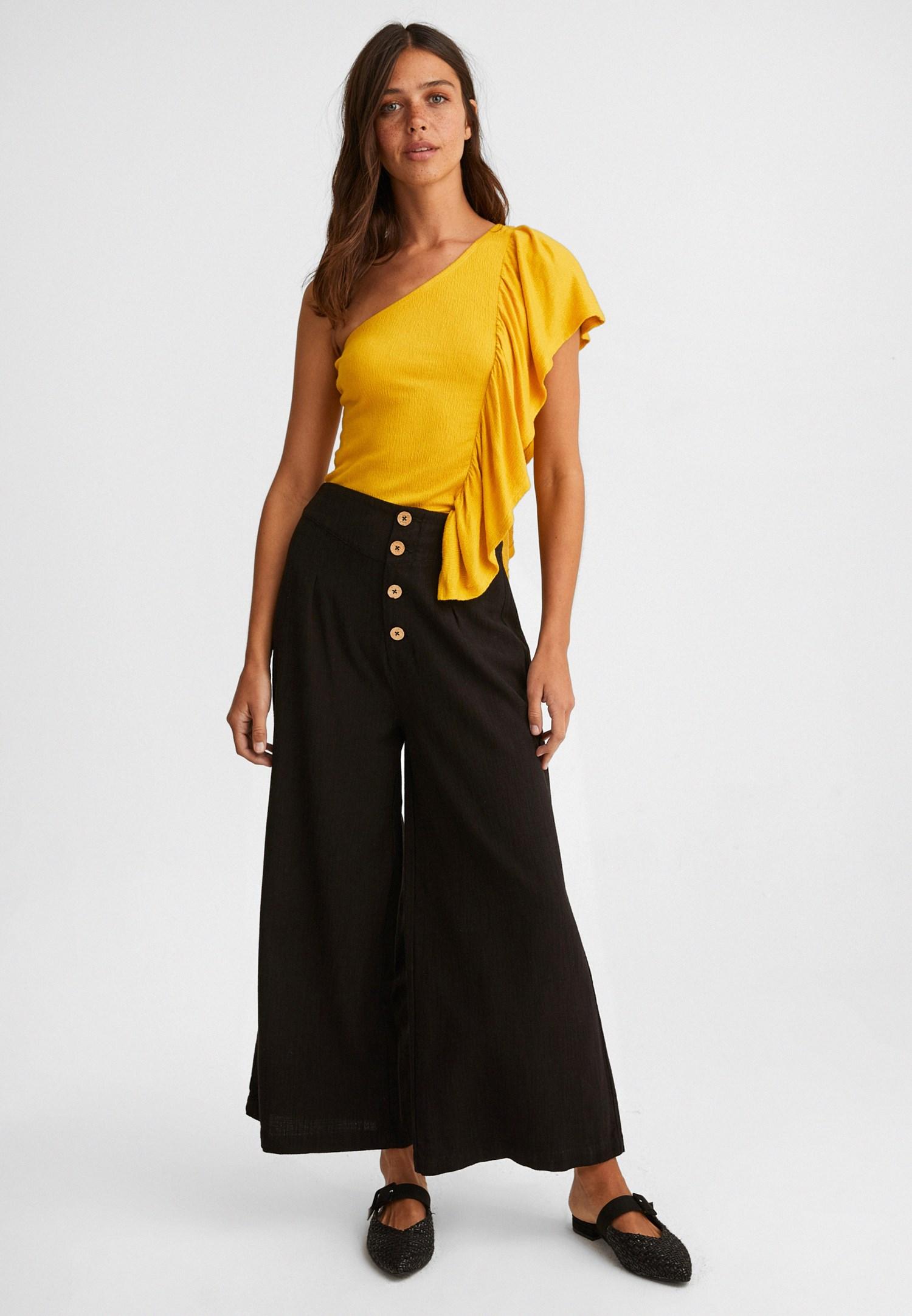 Bayan Sarı Tek Omuz Fırfır Detaylı Bluz