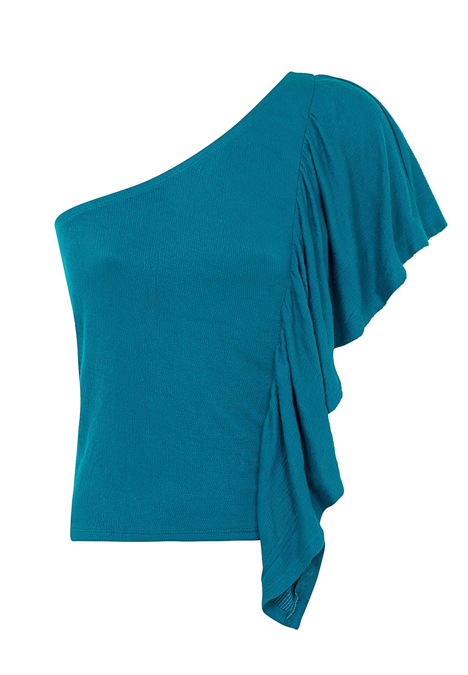 Bayan Mavi Tek Omuz Fırfır Detaylı Bluz