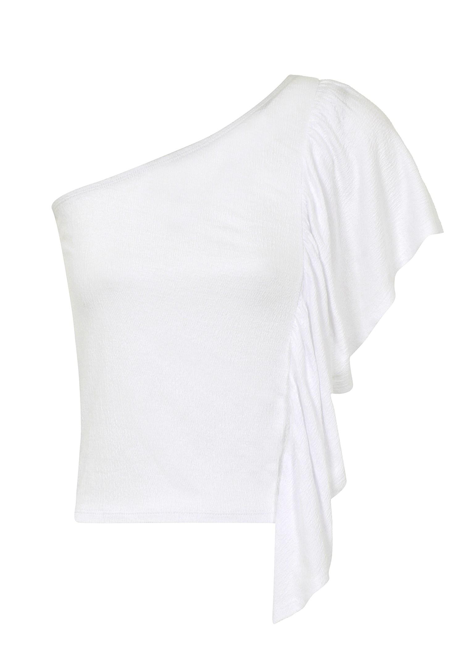 Bayan Beyaz Tek Omuz Fırfır Detaylı Bluz