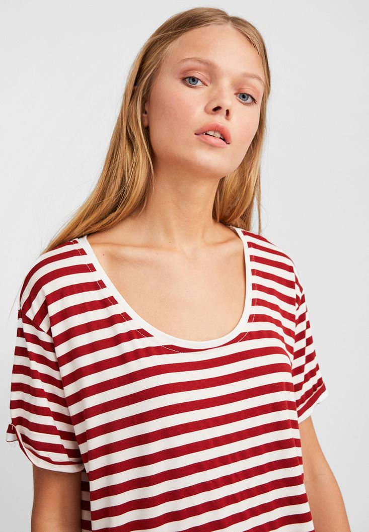 Mixed Striped Wide Neck T-Shirt