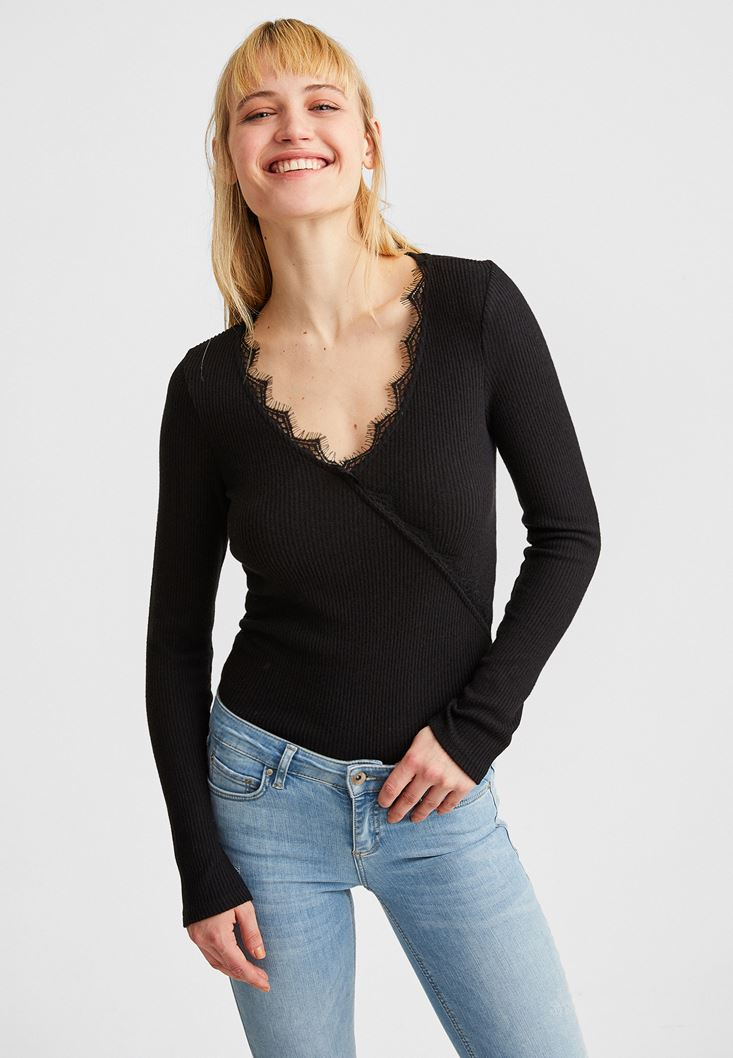 Black Lace-Trimmed V-Neck Pullover