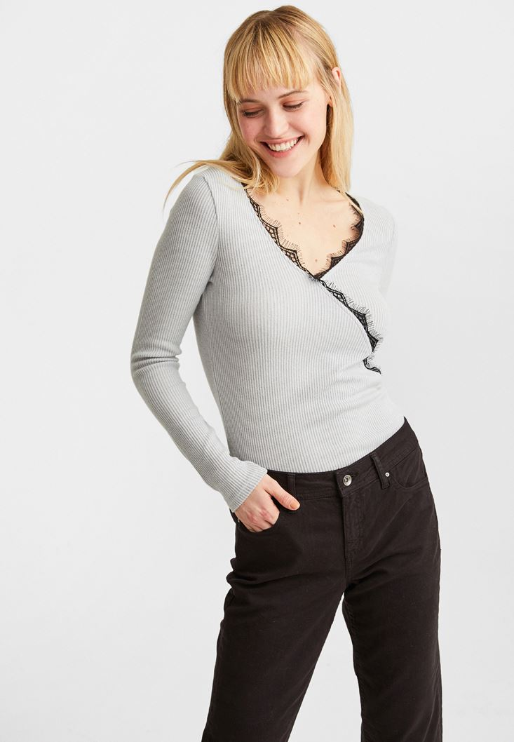 Grey Lace-Trimmed V-Neck Pullover
