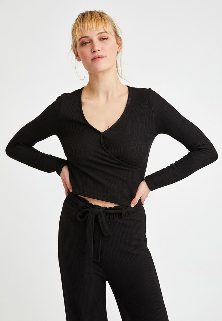 Black Long Sleeve Crossover Blouse