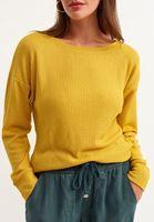 Bayan Sarı Bot Yaka Uzun Kollu Basic