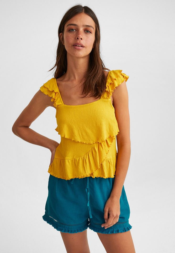Sarı Fırfırlı Bluz